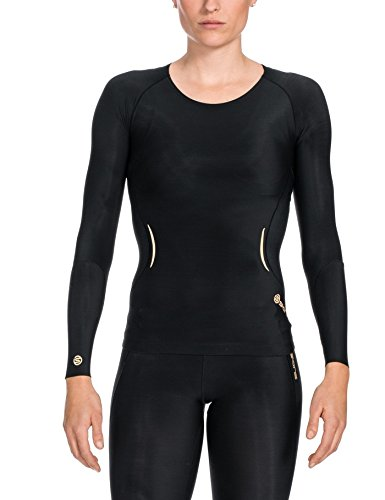 SKINS Women's A400 Long Sleeve Compression Top, Black, Small