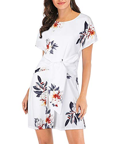 STYLEWORD Women's Short Sleeve Scoop Neck Floral Casual Elegant Bodycon Dresses(Floral06,M)