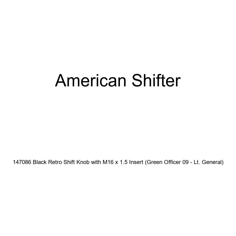 American Shifter 147086 Black Retro Shift Knob with M16 x 1.5 Insert Green Officer 09 - Lt. General