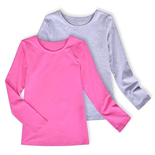 MODNTOGA Kids Girls Basic Shirt Long Sleeve 3 Solid Color Doll Collar Tops Blouse