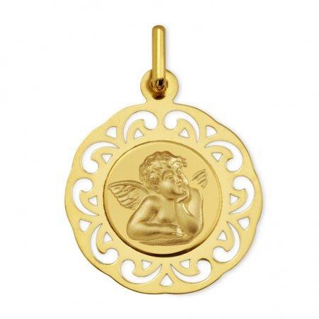 ANGE RAPHAEL - Médaille Religieuse - Or 18 carat - Hauteur: 19.5 mm - www.diamants-perles.com
