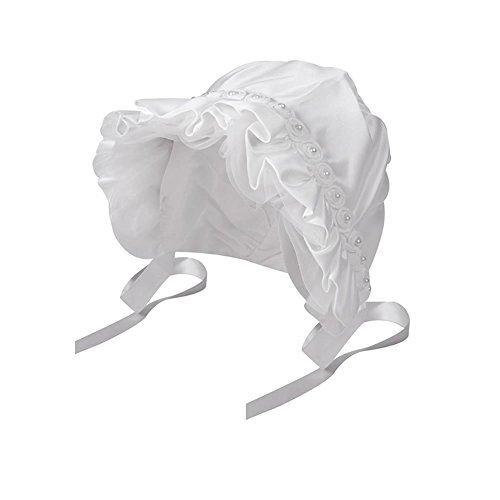- inSowni Baptism Christening Hat Cap Bonnet with Pearls Flowers White for Newborn Infants Baby Girls Toddlers (S: 0-6 Months)