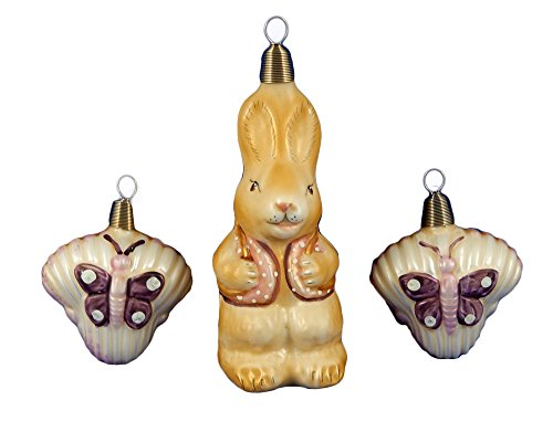 Rabbit and Butterfly Easter Bunny set of 3 German Glass Christmas Tree Ornament Animal 012331B