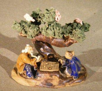 Bonsai Boy's Miniature Ceramic Figurine Two Men Sitting at a Table Under a Tree Color: Blue & - Bonsai Tree Figurine Ceramic