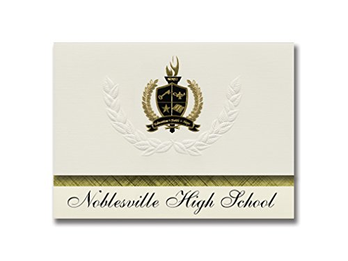 Signature Announcements Noblesville High School (Noblesville, IN) Graduation Announcements, Presidential style, Basic package of 25 with Gold & Black Metallic Foil seal by Signature Announcements