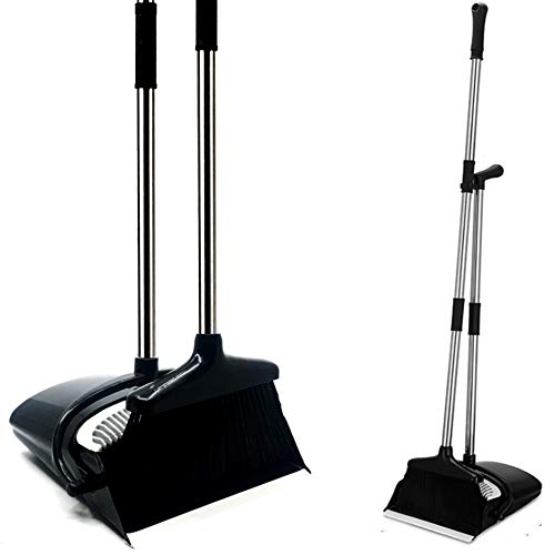Broom and Dustpan Standing Set Extendable Handle Up to 4 Feet & Soft Flexible Bristles