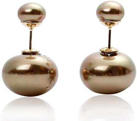 Sexy Sparkles Double Sided Front Back Peek A Boo Ball Earrings Ear Post Stud Ball Womens
