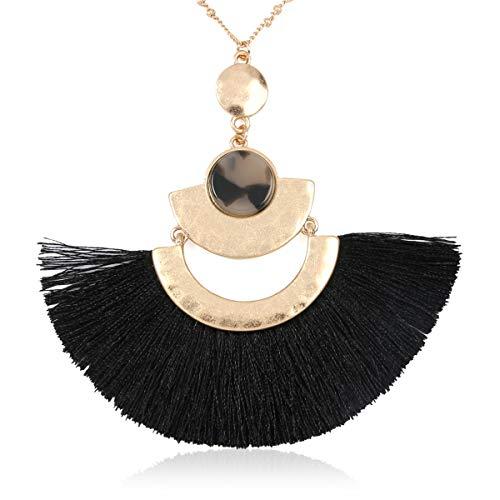 RIAH FASHION Bohemian Fringe Tassel Pendant Statement Necklace - Silky Strand Semi Circle Thread Fan Charm Long Chain (Fan Tassel - Black)