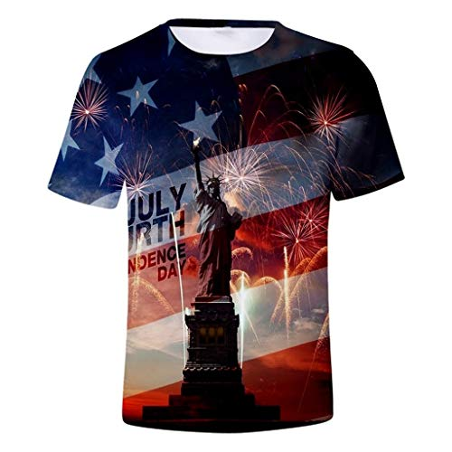 YOCheerful Mens Tops Athletic T-Shirt Bodybuilding Tactical Tee American Patriotic USA Cool 4th of July Tops(Dark Blue, L)