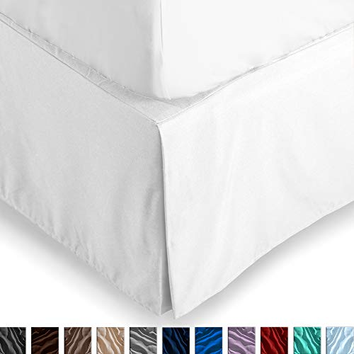 Bare Home Bed Skirt Double Brushed Premium Microfiber, 15-Inch Tailored Drop Pleated Dust Ruffle, 1800 Ultra-Soft Collection, Shrink and Fade Resistant (Queen, Cool White)