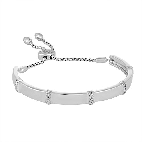 Rhythm & Muse Diamond Sterling Silver Adjustable Infinity Bangle Bracelet (3/50 ct)