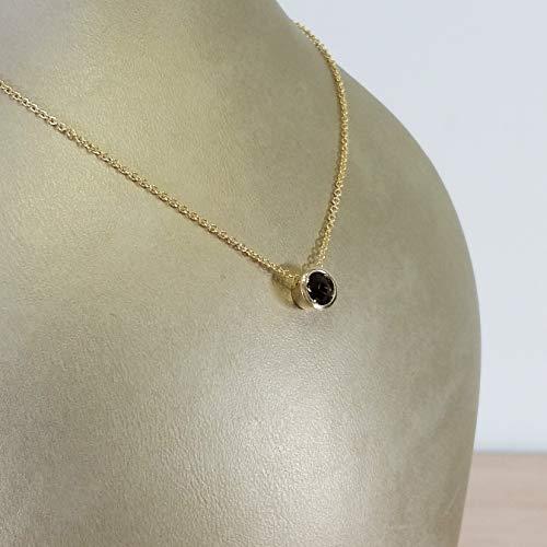 (14k yellow gold classic solitaire smoky quartz necklace)