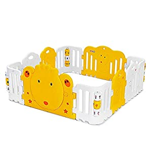 Foldable Baby Playpen Children's Toddler Game Fence Baby Crawling Fence Safety Odor Ball Pool Indoor Luxury Playpen Activity Panel (Color : Yellow, Size : 158x158x60cm)