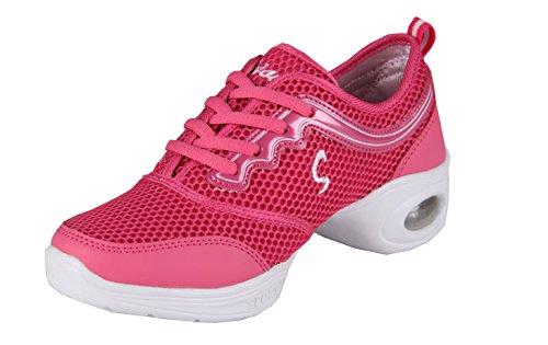 VECJUNIA Ladies Mid Heel Low-Cut Trainers Sneakers Agility Modern Breathable Jazz Mesh Dance Shoes Red