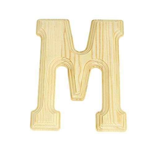Homeford Pine Wood Beveled Wooden Letter M, Natural, - Letters Pine Wooden