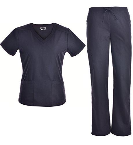 Pandamed V Neck Nursing Women Scrubs Set Doctor Uniform Slim Scrub Top and Pants JY1607 (Black, S) (Scrubs New Natural Uniforms Top)