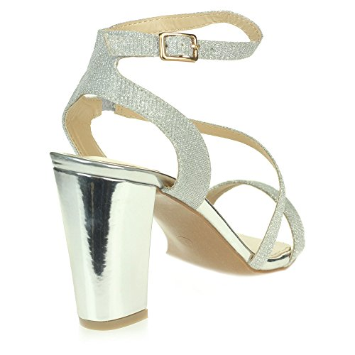 Size Womens Diamante Block Wedding Silver Heel High Ladies Prom Ankle Shoes Evening Wrap Party Sandals Owq1ArO