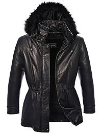 Womens New Zealand Lambskin 3/4 Jacket with Drawstring Waist, Faux Fur Detachable Hood