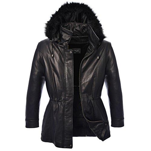 Robert Phillipe Women's New Zealand Lambskin 3/4 Jacket with Drawstring Waist, Faux Fur Detachable Hood & Zip-Out Lining