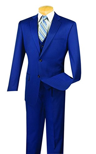 Tone Stripe Mens Suit (Vinci Tone On Tone Stripe 2 Button Single Breasted Classic Fit Suit W/Vest V2TT-8-Blue-44S)