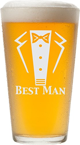 Engraved Tuxedo 16 oz Wedding Party Pint Glass - Will You Be My? Beer Glass (Best Man)