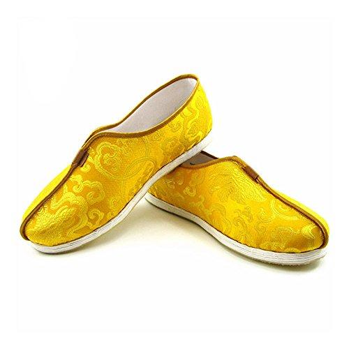 ZooBoo Chinese Martial Art Shoes - Traditional Kung Fu Tai Chi Wushu Shaolin Qi Gong Beijing Trainer Wing Chun Slipper Sneaker Footwear for Men Women (Gold, US 6(Men)=240mm)
