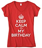 Cybertela Women's Keep Calm It's My Birthday Fitted V-Neck T-Shirt (Red, Large)