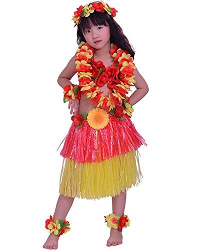 Kids Hawaiian Hula Dance Costume Ballet Performance Layered Dress Skirt Garland For Girl Child 40CM Full Set (Hawaiian Hula Outfits)