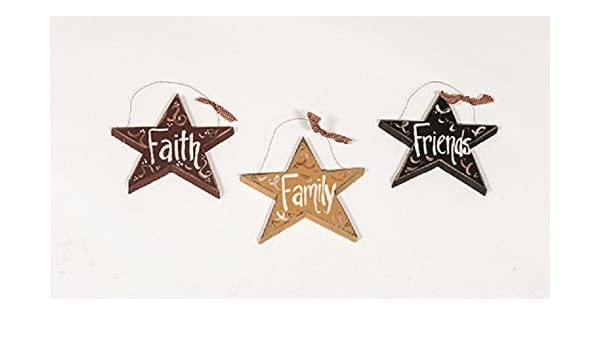 Amazoncom Rustic Primitive Country Decorative Wooden Hanging Stars