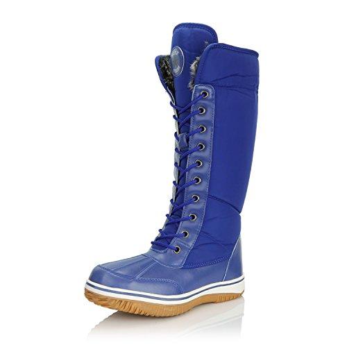 Zipper Women's High Snow Tone Blue Fur Boots Knee Resistant up Warm D'Cor Royal DailyShoes Cowboy 2 Water Eskimo 10HFwqnH4