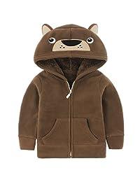 Boys Girls Polar Fleece Jackets Hoodie Jackets Front Zip Coats Spring Outerwear