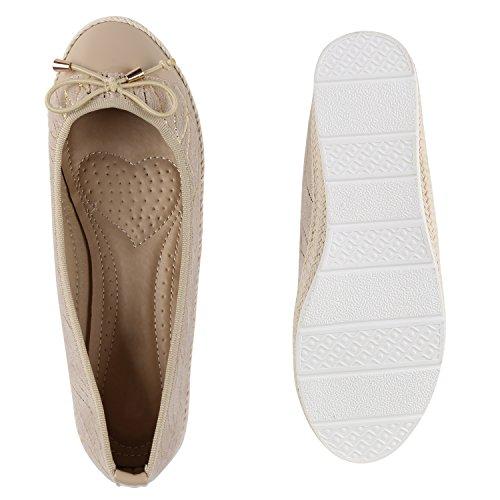 Stiefelparadies Klassische Lack Ballerinas Damen Flats Velours Metallic Ballerina Schuhe Schleifen Glitzer Damenschuhe Flandell Creme
