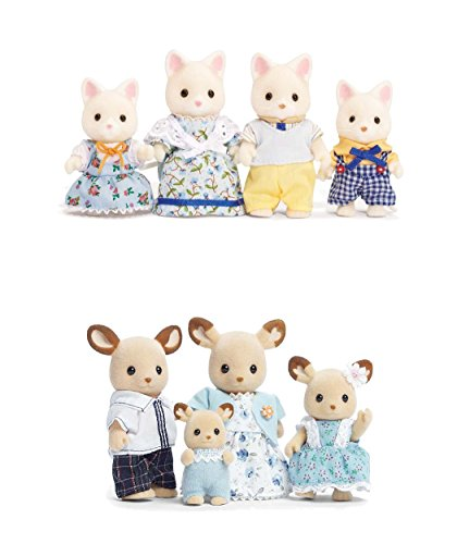 Calico Critters Silk Cat Family and Buckley Deer Family Set - Bundled by Maven Gifts