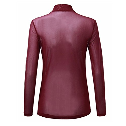 Top Ladies Donna Clubwear Shirt T Collo O YUMM Tops Camicia Vino Casuale Camicetta Eq1O5Ex
