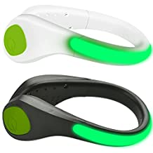 LED Shoe Clip Lights Pack of 2, MAXIN Reflective Safety Night Running Gear, LED Flash Shoes Safety Lights for Runners Joggers Bikers Walkers-- Water Resistant.(Green Led Light)