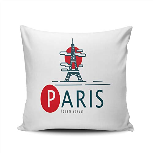Hoooottle Custom Paris Scene of The Eiffel Tower Decorative Pillowcase Throw Pillow Case Cover Zippered Square Double Side Printed 22x22 Inches ()