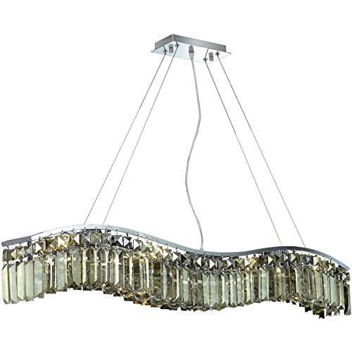 - Elegant Lighting 2040D36C-GT/RC Contour Collection 8-Light Hanging Fixture Royal Cut Golden Teak Crystals with Chrome Finish