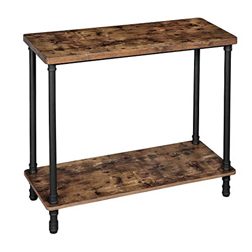 VASAGLE Industrial Console Table, Sofa Table with Iron Pipe Legs and 1.2 Inch Thick Table Top, Easy Assembly, Accent Table for Hallway, Entryway, Living Room, Rustic Brown ULNT82X (Table Iron Entry)