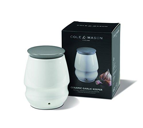 COLE & MASON Ceramic Garlic Roaster Keeper, Jar, White