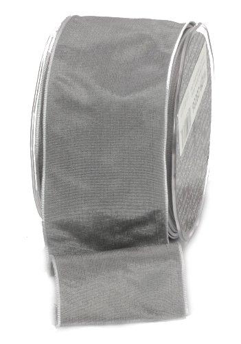 (Ampelco Ribbon Company French Wired 27-Yard Taffeta Ribbon, 2.5-Inch, Silver Grey)