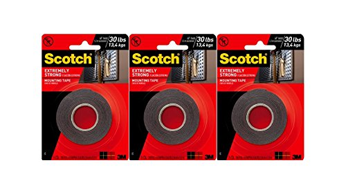 Perforated Metal Surface Mount - Scotch Extremely Strong Permanent Mounting Tape, 1 in. X 60 in, Black, 3 Roll/Pack
