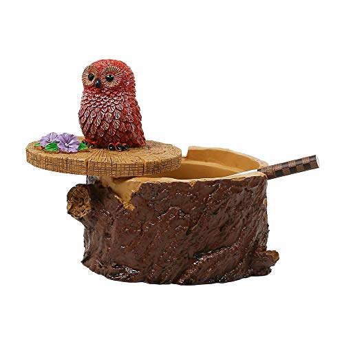 SEA or STAR Outdoor Ashtrays for Cigarettes Cute Resin Owl Ashtray with Lid for Home and Garden