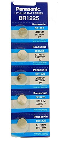 Panasonic BR1225 - 1 Pack of 5 Batteries. 3 volt Coin Cell Lithium Non Rechargeable CR1225.
