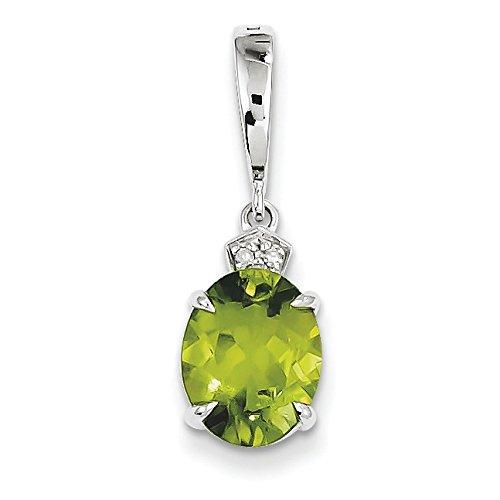 Or blanc 14 carats-Péridot-Diamant-Pendentif ovale JewelryWeb