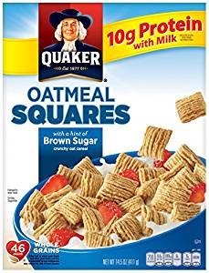 - Quaker Oatmeal Squares With A Hint Of Brown Sugar 14.5 Oz. Pk Of 3.
