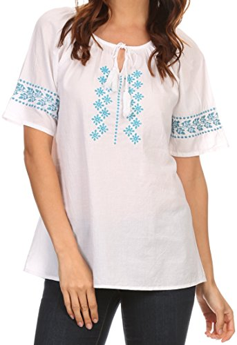 Sakkas KT5279 - Jeanita Embroidered Cotton Boho Short Sleeve Top Blouse With Front Tie - Turquoise - XL