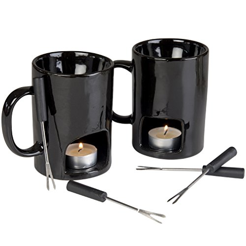 Evelots Fondue Mugs,2 Mugs,4 Forks & 8 Votive Candles-Minor Defects-14 Piece Set by Evelots (Image #3)