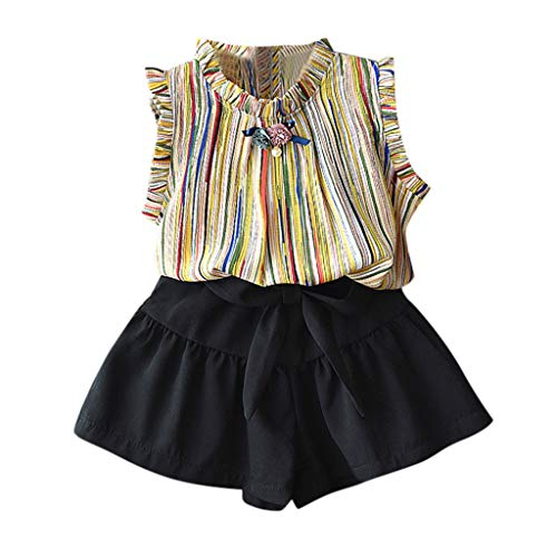 DAmeng Infant Baby Girl Kid Sleeveless Flowers Striped Tops T Shirt+Shorts Outfits Set (18-24Months, Yellow) ()