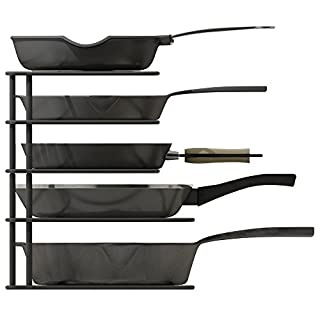 ZESPROKA Kitchen Cabinet Pot and Pan Organizer, Pot Lid Rack, Black