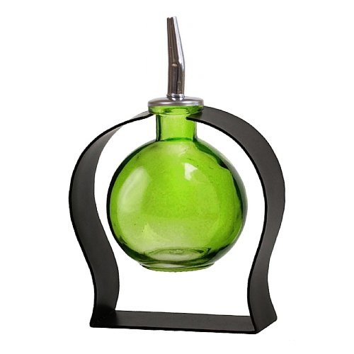 Oil Bottle with Spout, Cooking Oil container or Liquid Soap Dispenser G122F Lime Green Globe Style Glass Bottle with Stainless Steel Pour Spout, Cork and Modern Powder Coated Black Metal Stand Included (Glass Container With Pour Spout compare prices)